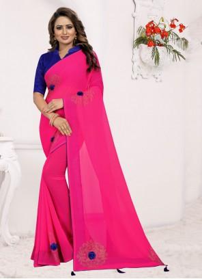 Pink Print Saree