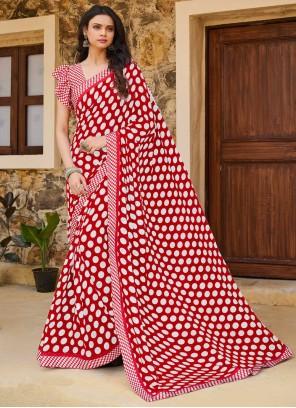Pink Print Traditional Saree