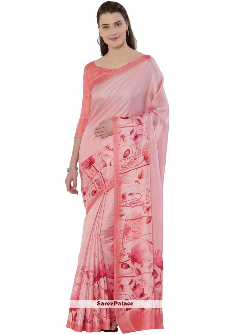 Pink Printed Art Silk Casual Saree