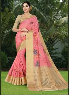 Pink Printed Casual Classic Saree
