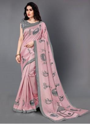 Pink Printed Casual Saree