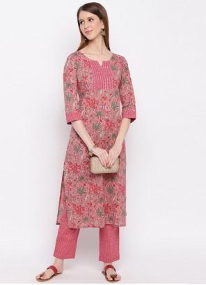 Pink Printed Cotton Casual Kurti