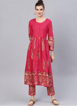 Pink Printed Cotton Salwar Suit
