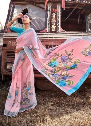 Pink Printed Cotton Silk Saree