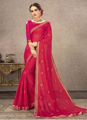 Pink Printed Fancy Fabric Classic Saree