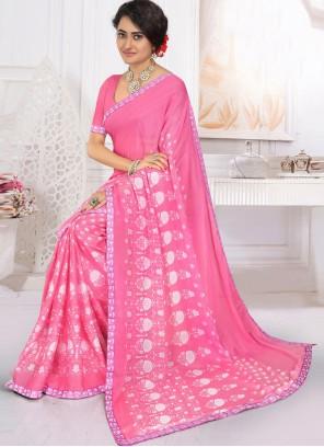 Pink Printed Georgette Trendy Saree
