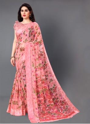 Pink Printed Party Casual Saree