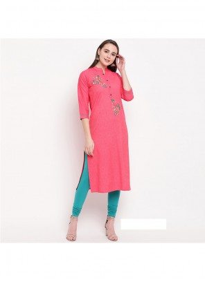 Pink Printed Rayon Party Wear Kurti