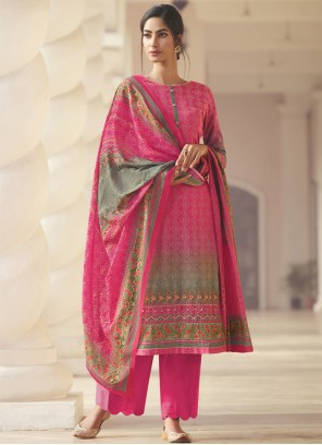 Pink Printed Satin Designer Palazzo Salwar Kameez