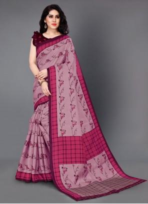 Pink Printed Silk Casual Saree