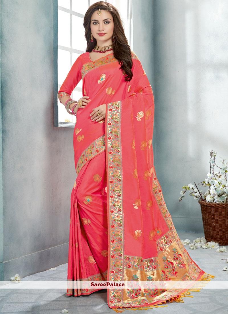 Pink Printed Trendy Saree