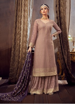 Pink Pure Georgette Festival Trendy Palazzo Salwar Suit