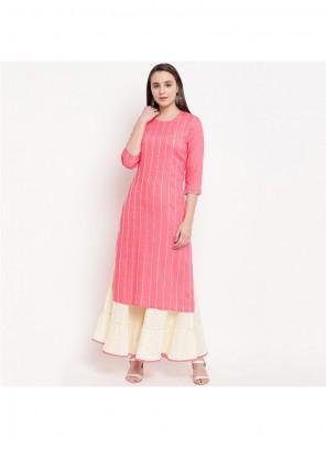 Pink Rayon Lace Designer Kurti