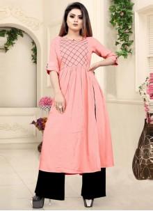 Pink Rayon Party Wear Kurti