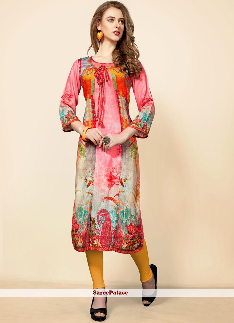 Pink Rayon Printed Casual Kurti