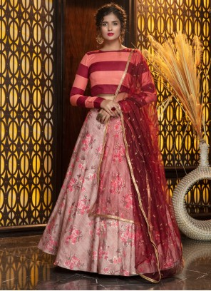 Pink Rayon Sangeet Trendy Lehenga Choli