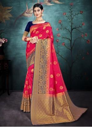 Pink Reception Traditional Saree