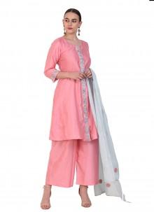 Pink Resham Art Silk Designer Suit