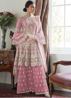 Pink Resham Designer Palazzo Suit