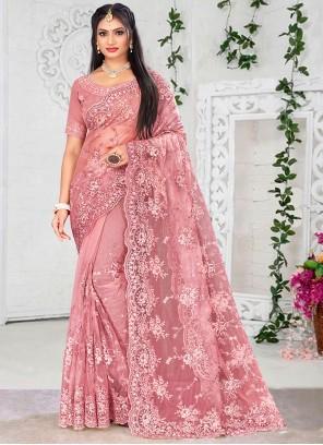 Pink Resham Designer Saree