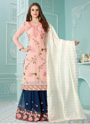 Pink Resham Faux Georgette Designer Palazzo Salwar Suit