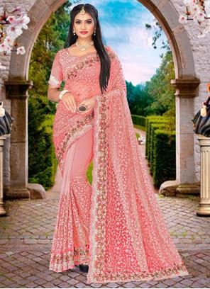 Pink Resham Net Designer Saree