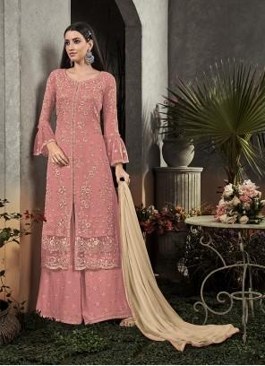 Pink Resham Palazzo Salwar Suit