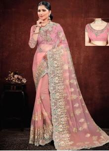 Pink Resham Reception Classic Saree