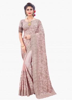 Pink Resham Sangeet Designer Saree