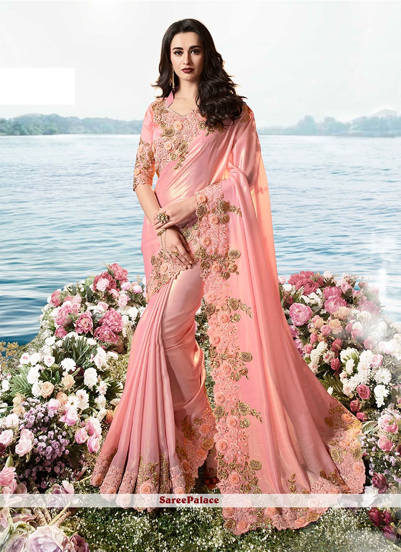 Pink Resham Tissue Classic Saree