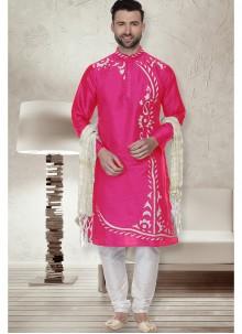 Pink Sangeet Art Dupion Silk Kurta Pyjama