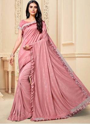 Pink Sangeet Fancy Fabric Classic Designer Saree