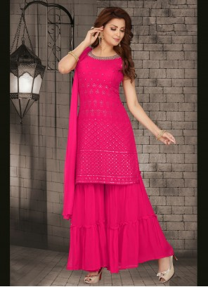 Pink Sangeet Faux Georgette Readymade Suit