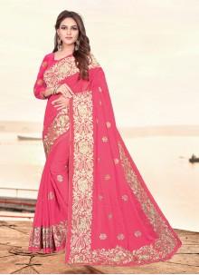 Pink Sangeet Rangoli Designer Saree