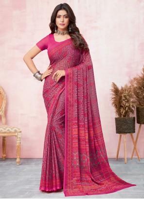 Faux Chiffon Pink Abstract Print Saree