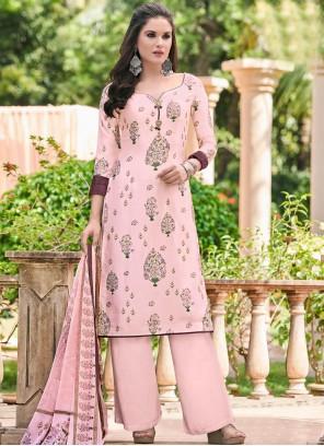 Pink Satin Designer Salwar Kameez