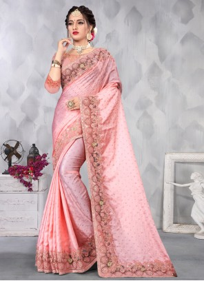 Pink Satin Designer Saree