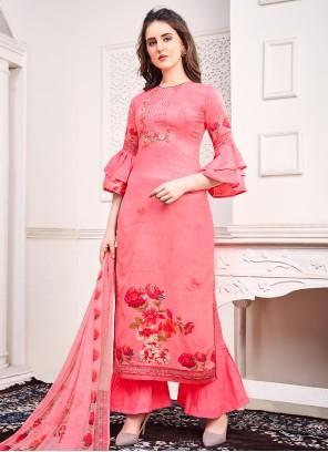 Pink Satin Embroidered Trendy Salwar Kameez