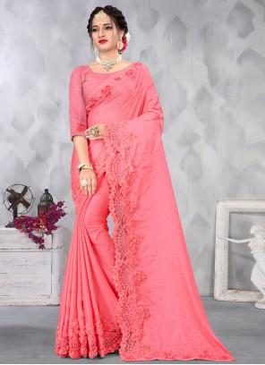Pink Satin Sequins Designer Saree