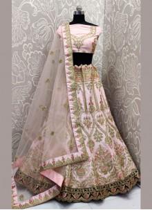 Pink Satin Silk Embroidered Trendy A Line Lehenga Choli