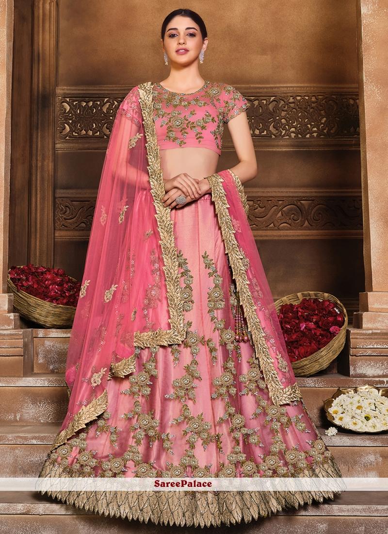 Pink Satin Silk Patch Border Lehenga Choli