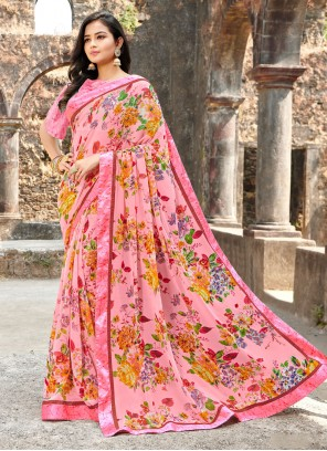Pink Satin Silk Printed Saree