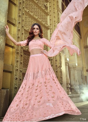 Pink Sequins Faux Georgette Lehenga Choli