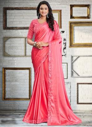 Pink Sequins Satin Silk Classic Designer Saree