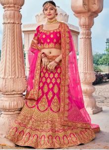 Pink Silk Bridal Designer Lehenga Choli