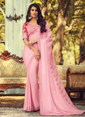 Pink Silk Contemporary Saree