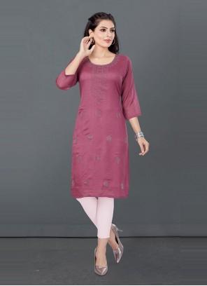 Pink Silk Designer Kurti