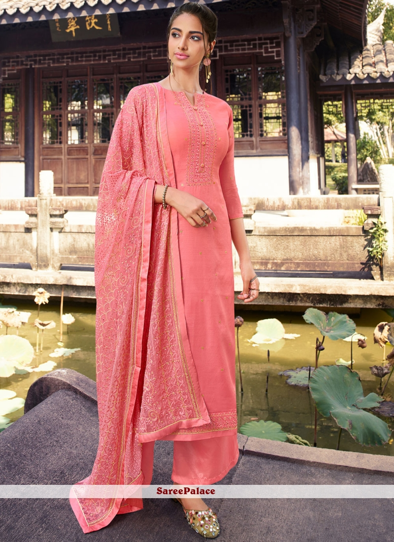 Pink Embroidered Silk Designer Palazzo Suit