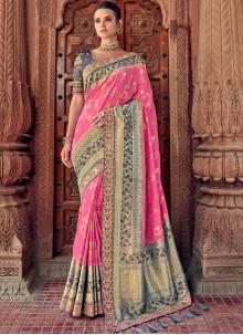 Pink Silk Designer Traditional Saree