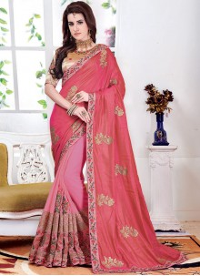 Pink Silk Embroidered Designer Half N Half Saree